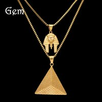 Authentique Hiphop Jewellry Sets Colliers pendants plaqués or pour hommes Chaînes en acier inoxydable Pharaoh Pyramid Pednants Hip Hop Jewelries