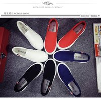 Wholesale Korean Fans - 2016 spring and summer a new black solid blue pedal lazy shoes Korean version of the thick crust muffin casual fan Low Pin