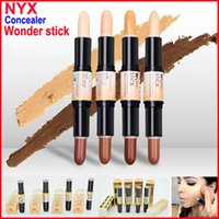 Wholesale Stick Lights Wholesale - NYX Wonder Stick concealer Highlight & Contour Stick Foundation Face makeup Double-ended Contour stick 4Colors Light Medium Deep Universal