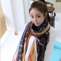 Wholesale Elegant Fashion For Larger Women - Hot selling high quality larger size 180*90cm chiffon scarf for women,female fashion elegant stripe voile scarf ,HCA-SK045