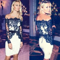 Wholesale Sexy Night Wear Picture - White And Black Lace Sheath Evening Party Dresses For Arabic Dubai Off Shoulder Sheer Long Sleeve Knee Length 2016 Cocktail Night Club Wears