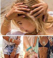 tatouages femmes sexe achat en gros de-10 pcs / lot or tatouage produits de sexe collier bracelets tatouage métal tatouage temporaire femmes imperméable flash tatouages métalliques Sexy Chic Tattoo