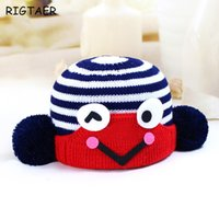 Wholesale Newborn Knit Frog Hat - Baby boy and girl hats 2017 winter new children's wool hat frog striped baby helpless ear blanket warm baby knitting hat beanies