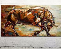 Wholesale Bull Canvas Painting - Abstract Bull,Pure Hand Painted Animal Art Oil Painting Canvas.any customized size accepted Free Shipping,ali-rachael-zhu