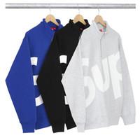 Wholesale Street Sweatshirt Collar - SUP Trend Brand Clothing Jackets Men Women Half Zipper Fashion Street Outerwear Skateboard Hip Hop Coats Hooded Sweatshirts