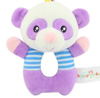 Wholesale Hand Bell Baby Toys - Baby Plush Toys purple Bear Animal Shaped Catoon Hand Bell Ring Rattles Kid Soft Developmental Training Toy