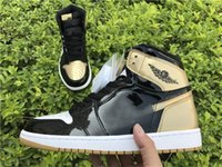 Wholesale Basketball Leather Material - 2017 Best Air Retro 1 High OG NRG Gold Top 3 Authentic Quality Real Leather Original Material Man Basketball Shoes 861428-001 Sneakers 7-13