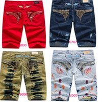 Wholesale mens pants 32 - New Arrivals Mens Robin Shorts Men s Designer Jean Cowboy Denim Short Pant with Crystal Studs Flap Pockets Cover Wing Clip size