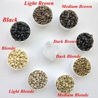 extensões de cabelo com microfilmes de silicone venda por atacado-1000 pçs / saco 4.0mmx2.0mmx2.0mm Micro Alumínio com Silicone Anéis Links / Beads Para Extensões de cabelo ferramentas 8 cores