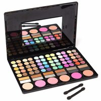 Wholesale Eyeshadow Makeup Palette 78 - 78 Colors Eyeshadow Palette Makeup Powder Cosmetic Brush Kit Box With Mirror Women Beauty Tools Set free shipping DHL 60222