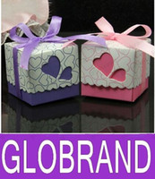Wholesale Wholesale Cutout Ribbon - Purple Heart Love Cutouts Boxes Wedding Favors Baby Shower Square Boxes With Ribbons GLO156