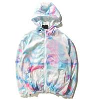 chaquetas de ropa de las muchachas al por mayor-Ropa para hombre importada chaqueta ST World Tour pintura colorida salpicadura chaqueta para niñas protector solar gradiente de color chaqueta 101725