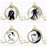 Wholesale Pictured Rocks - Vintage Elvis Presley Picture Pendant Necklace The King of Rock Art Jewelry Gift Elvis Presley Necklaces