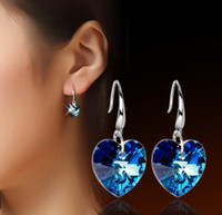 Barato Brincos De Casamento Longo Prata-Blue Crystal Heart Shaped Dangle Earrings 925 Silver Long Drop Love Charm Earring Bridal Wedding Jewelry para Mulheres Acessórios Top Quality