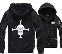 Wholesale Pirate Shirts Men - Wholesale-Japanese Anime One Piece White Beard Pirate Portgas D Ace Black Hoodie Street Wear Print Clothing Men Comics Hoody Sweat Shirt
