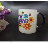 Wholesale Sublimation Mug Free - Free Shipping Newest Design Sublimation Photo Color Changing Coffee Mug Black Magic cup Printing with Happy Birthday
