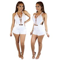 Wholesale New Club Bodysuits - Women New Fashion Skinny Jumpsuits Lady Hot Club Sexy Party Bodycon Bandage bodysuits Backless Hollow out Vestidos Rompers