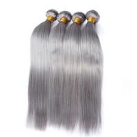 hızlı nakliye bakire brezilya saçı toptan satış-Brezilyalı Saç Örgü Demetleri Gri Renk Düz 3 Saç Demetleri Ön Renk Remy Malezya Bakire Insan Saç Demetleri Hızlı nakliye