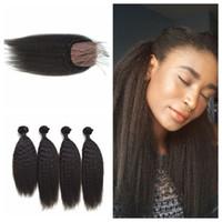 cabelo humano yaki tramas venda por atacado-Mongolian Kinky Em Linha Reta Cabelo Humano Em Linha Reta de Seda Encerramento Com Bundles Naturais Preto Grosso Yaki Hair Wefts G-EASY