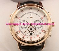 Wholesale Strap Duo - New arrived Automatic movement High quality sapphire glass white Duo dial leather strap wristwatch Sky Moon Tourbillon
