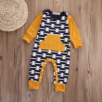 Wholesale Baby Boy Rompers Sale - hot sale baby rompers Newborn kids boys Girls fashion retro Bodysuit Long Sleeve o-neck Jumpsuit pocket attached kids Outfits Clothes 0-18M