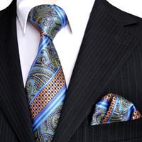 оранжевая синяя полоса мужская галстук оптовых-E3 Полосы Пейсли Многоцветный Синий Темно-Бирюзовый Оранжевый Мужские Галстуки Набор Галстуки Карманный Квадрат 100% Шелк Жаккардовые Тканые