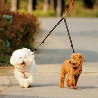 Wholesale led sunglasses online - Duplex Double Leash Pet Dog Coupler Twin Lead Way Two Pet Dogs Walking Leash Safety