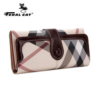 Wholesale phone holder wallet - Wholesale- High Quality Womens Long Wallets 2017 New Fashion Designer Passport Holder Plaid Wallets And Travel Cell Phones Purses 7000