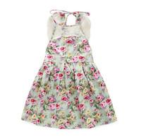 Wholesale Summer Kids Lace Backless Dress - 2016 Summer Children Girls Flora Sleeveless Bowknot Dresses Sexy Lace Backless Kids Dresses Blue K7670