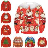 Wholesale Christmas Tree Sweatshirt - Christmas sweatshirt Pullover women Tops Shirt Coat Long Sleeve Casual Tree Santa Claus snowman deer sweatshirts autumn winter red thin coat