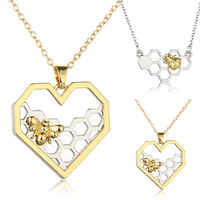 Wholesale Honeycomb Necklace - 2017 Women Necklace Heart Gold Silver Color Honeycomb Bee Animal Pendant 45cm Jewelry Party Prom Gift