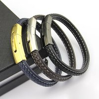 Wholesale Leather Cord Brown - Jewelry wholesale Men Leather Cord Bangle Bracelet Brown Black Blue Leather Bracelet men