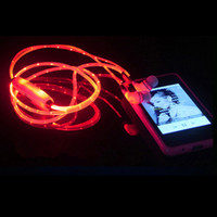 Wholesale Oppo Cell - Luminous night light earphone glow in ther dark aux audio Led jack in-ear ear phone for xiaomi Meizu huawei OPPO VIVO MP3