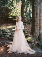 Wholesale Wedding Gowns For Muslims - 2018 Blush Pink Long Sleeves Illusion Wedding Dresses Cheap A Line Tulle Lace Applique V Neck Bridal Gowns For Garden Country Glamor