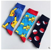 Wholesale Man Hosiery - Poke Ball Pikachu Socks Women Men Pocket Monster Stockings Squirtle Charmander Hosiery Poke Go Cotton Socks Unisex Cartoon Socks