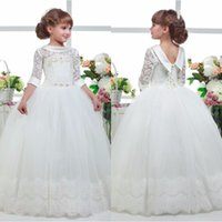 Wholesale Three Quater Length Lace Sleeves - Most Lovely Three Quater Sleeves Special Occasion Gown Flower Girl Dresses Girls Pageant Dresses First Communion Dresses Holy Dresses