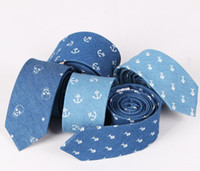 Wholesale Anchor Neck Ties - Cotton tie men Europe and the United States leisure fashion personality denim skulls anchor printed men's tie