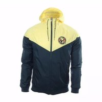 Wholesale America Jacket - 17 18 Club America Yellow Authentic Windrunner Hoodie, Best Quality Chamarra Rompevientos America Jacket, America Yellow Training Hoodie