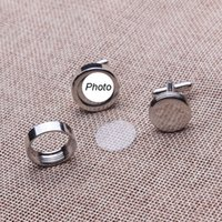 Wholesale Name Cufflinks - high quality wedding cufflinks with your names or wedding photos on the cufflinks copper material 250 pairs per lot