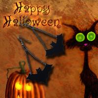 une chaîne de boucle d'oreille achat en gros de-2017 nouvelle arrivée femme boucle d'oreille une paire noir crochet de vampire noir en cuir PU chauve-souris noire chauve-souris chaîne gothique Halloween Drop Earring rétro