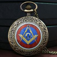 Wholesale Wholesale Masonic Watches - Wholesale-Fashion Mystical Masonic Freemason Freemasonry Theme Bronze Pocket Watch With Chain Necklace