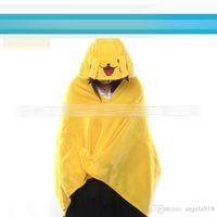 Wholesale Wholesale Hooded Cloak High Quality - Anime Poke Pikachu Charizard plush cloak stuffed children Hooded shawls cosplay Ponch High Quality kids clothes 145*72cm Free shipping E1205