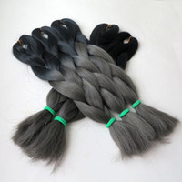 Wholesale black grey synthetic braiding hair for sale - Group buy Kanekalon ombre braiding hair Crochet Braids twist inch g Black Dark Grey Two tone synthetic braiding hair extensions