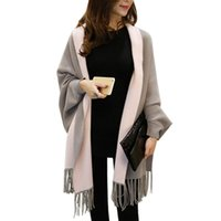 Wholesale Knitting Ruffle Scarves - 2016 New Women Poncho Cardigans Autumn Winter Women Overwear Coat Oversized Knitted Cashmere Capes Sweater With Tassel Scarf WKS0037