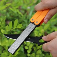 outdoor knife sharpener - Double Sided Folded Pocket Sharpener Diamond Knife Sharpening Stone Outdoor Sharpeners travel tools Color yellow LB