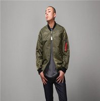 Wholesale Military Style Jacket Men Green - 2016 New Fashion Hi-Street Mens Military Style MA-1 Bomber hip hop Jacket Black Mens Slim Fit Hip Hop Varsity Baseball Jacket
