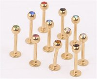 Wholesale 16g Lip Studs - Anodized Stainless Steel 3mm Crystal Cz Gem 16G Gold Labret Lip Ring And Stud Fashion Nose Earring Body Piercing Jewelry 50PCS LOT
