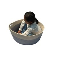 Wholesale XXL Storage everythig Cotton Rope Basket Hamper with invisible handles Grey bottom Beige
