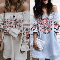 Barato Mulheres Bonitas Nus-Mulheres Floral Print Nude Off Shoulder A-line Dress Girls Cute Fashion Casual Slash Boho Mini Dress Outfit 2 cores