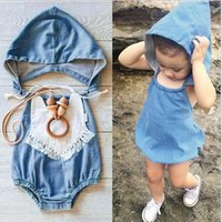 Wholesale Toddlers One Piece Hooded Rompers - Ins Hot Infant Baby Girls Denim Hooded Rompers Toddler Wash Blue Fashion Jumpsuits 2016 Children's Summer One pieces babies clothes